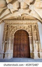 SALAMANCA, SPAIN, APRIL - 17, 2016:  The renaissance portal in the atrium of Colegio Arzobispo Fonseca.