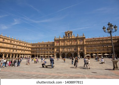 SALAMANCA, SPAIN - April 28, 2019: Plaza Mayor, the most important square and the heart of Salamanca. Spain