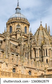 SALAMANCA, SPAIN - APRIL 4, 2019: domes of the old cathedral, Torre del Gallo (rooster tower)