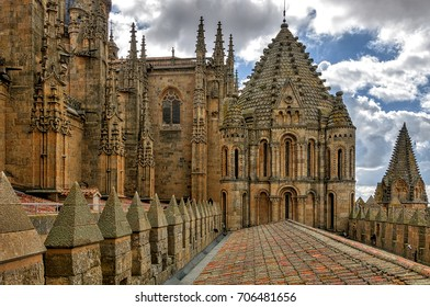 Salamanca, Spain. Circa May 2010. Partial view of Salamanca old Cathedral and famous Rooster tower.