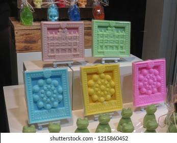 SALAMANCA, SPAIN - CIRCA SEPTEMBER 2018: coloured soap souvenir from Salamanca