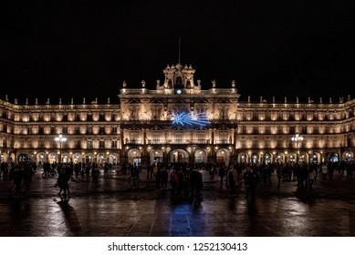 Salamanca, Spain; December 2018:  Salamanca famous landmark Plaza mayor, main square at night in Salamanca, Spain.