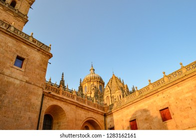 Salamanca, Spain. July 15, 2015. Salamanca cathedral exterior. Daytime.