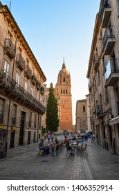 Salamanca, Spain. July 18, 2015. People having dinner in traditional street of Salamanca. Taking rest and enjoying the Cathedral view.