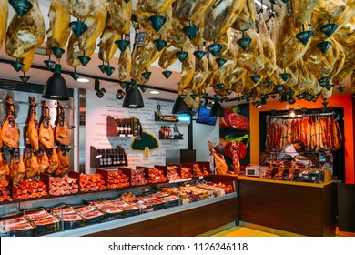 Salamanca, Spain - June 12, 2018: Interior of a traditional Spanish butchers - Salamanca, Castilla y Leon, Spain - Unesco World Heritage Site