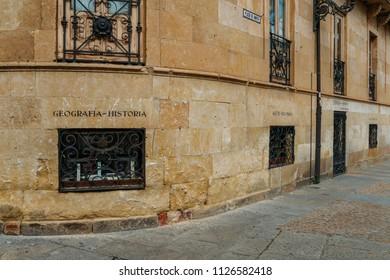 Salamanca, Spain - June 12, 2018: University of Salamanca library, the oldest functioning university in Spain - Salamanca, Spain