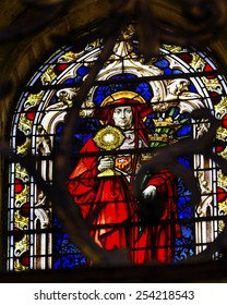 SALAMANCA, SPAIN - MAY 10, 2014 Red Catholic Cardinal Stained Glass in New Salamanca Cathedral Castile Spain. New Cathedral was built from 1513 to 1733.