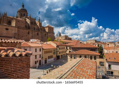 SALAMANCA, SPAIN - MAY, 2018: View of the beautiful old city and the historical Salamanca Cathedral