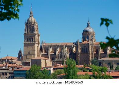 SALAMANCA, SPAIN - MAY 3: Cathedral of Salamanca in the morning on May 3, 2019 in Salamanca, Spain.