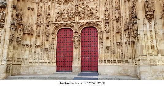 SALAMANCA, SPAIN - NOVEMBER 11: Salamanca cathedral  on November 11, 2018 in Salamanca, Spain.