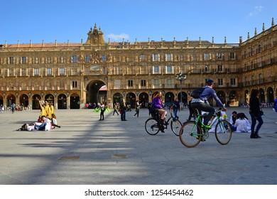 Salamanca, Spain - November 15, 2018: Square Mayor of Salamanca.