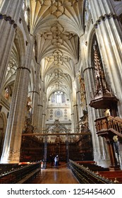 Salamanca, Spain - November 15, 2018: Interior of the Cathedral of Salamanca.