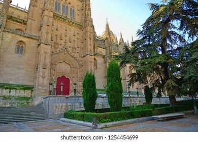 Salamanca, Spain - November 15, 2018: Salamanca Cathedral and Anaya Square in Salamanca.