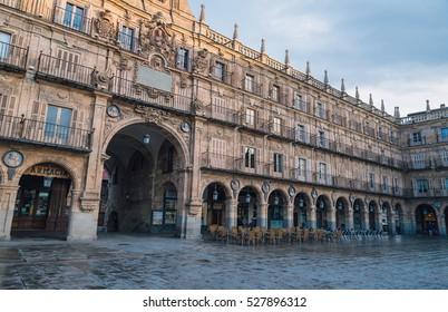 SALAMANCA, SPAIN - November 30, 2016: Plaza Mayor - most important square and the heart of Salamanca