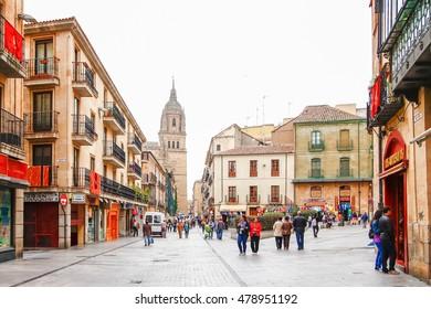 SALAMANCA, SPAIN - OCTOBER 13,2012 : Cloudy day of Cathedral of Salamanca, Castilla y Leon region, Spain