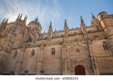 SALAMANCA, SPAIN - OCTOBER, 2016: cityscape. view of walls and domes of Cathedral Nueva (New cathedral) against a blue sky background in Salamanca Spain