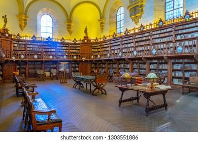 SALAMANCA, SPAIN, OCTOBER 5, 2017: Lecture hall of the university of Salamanca, Spain