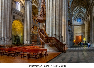 SALAMANCA, SPAIN, OCTOBER 5, 2017: Interior of the Cathedral at Salamanca, Spain