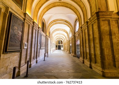 Salamanca, Spain - September 10, 2017: cloister of Salamanca University, the oldest university in Spain and one of the oldest in Europe, Community of Castile and Leon, Spain