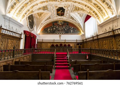 Salamanca, Spain - September 10, 2017: Meeting room of Salamanca University, the oldest university in Spain and one of the oldest in Europe, Community of Castile and Leon, Spain
