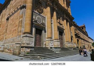 Salamanca/ Spain-June 21,2018: Pontifical University of Salamanca - the emblem of Santiago Orden, located in old city of Salamanca, Spain