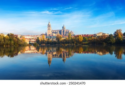 Salamanca with Tormes River and Cathedral. Castile and Leon, Spain