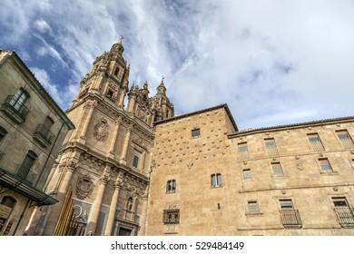 SALAMANCA,SPAIN-NOVEMBER 21,2012: Historic center city view, building Casa de las Conchas and church, Salamanca.