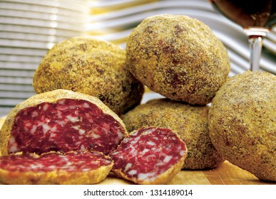 Salame Pitina, a gastronomic specialty from Friuli, Italy.