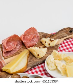Salami and cheese plate