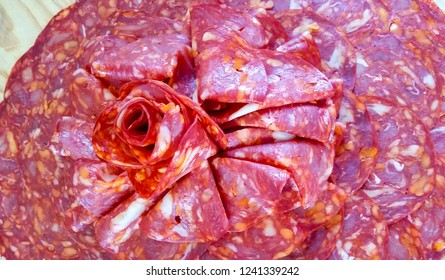Salami decoration on buffet