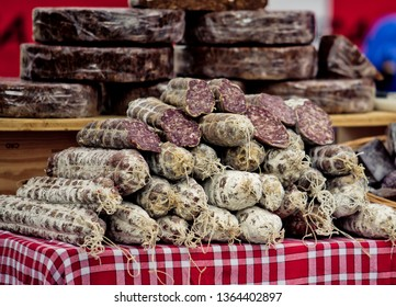 Salami at a local Weekly Market in Brittany France