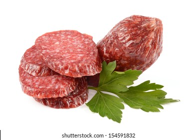 Salami on white background