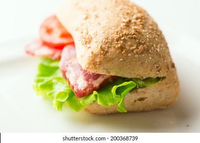 Salami sandwich on plate close up. Selective focus, shallow DOF
