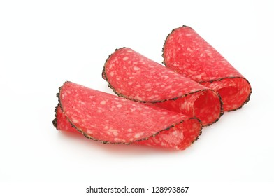 Salami - sausage isolated on white background