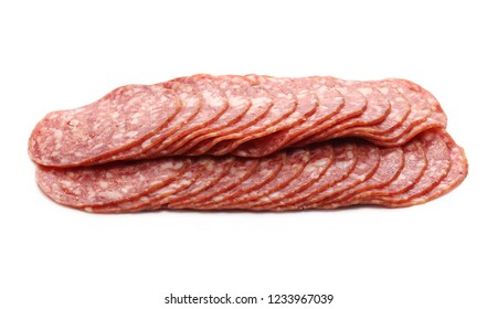 Salami sausage slices isolated on white background
