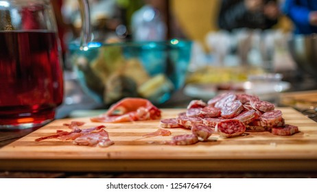 Salami (singular salame) is a type of cured sausage consisting of fermented and air-dried meat, typically beef or pork.