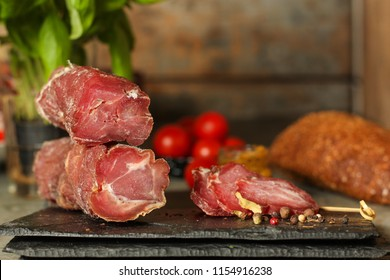 salami, sliced slices (sausages) . food background. Top view with copy space