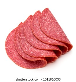 Salami slices isolated on the white background.