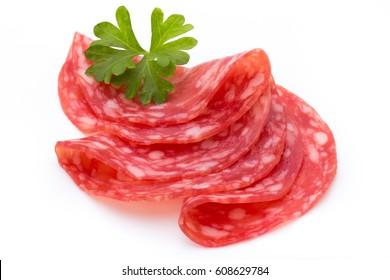 Salami slices isolated on white background