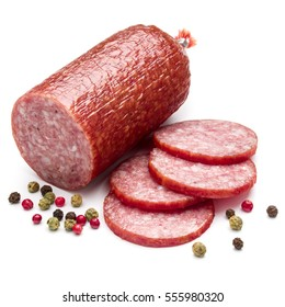 Salami smoked sausage and peppercorns isolated on white background cutout.