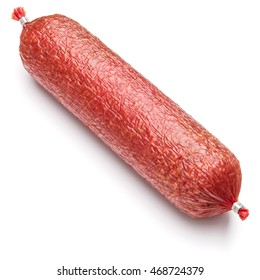 Salami smoked sausage piece isolated on white background cutout