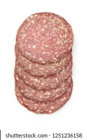 Salami Smoked Sausage Slices, isolated on a white background. Top view.