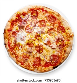 Salami and sweetcorn pizza isolated on white from above.