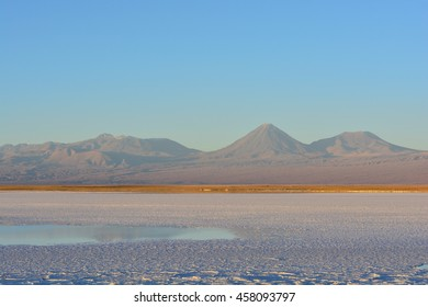 Salar at Atacama desert, Chile, with the volcanos at background