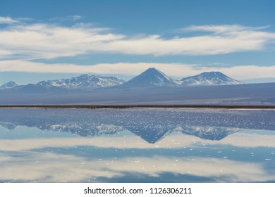 Salar de Atacama, amazing reflection effect on water. Atacama desert. Chile