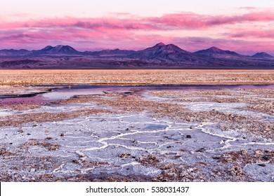 Salar de Atacama in a stunning sunset. Pink colors was vibrant that afternoon. Atacama, Chile.