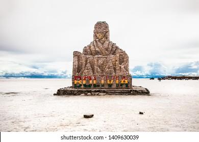 Salar de Uyuni, Bolivia -Dec 31, 2018: Dakar monument on Salar de Uyuni salt flat in Bolivia.