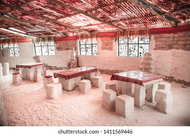 Salar de Uyuni, Bolivia - Dec 31, 2018:Interior Inside of  hotel made of salt directly on a salt plain Salar de Uyuni, Bolivia.