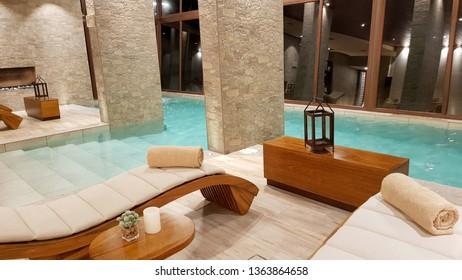 "Salar de Uyuni, Bolivia - February, 2019. Swimming pool inside the splendid Hotel ""Palacio de Sal"" at the entrance of the Salar de Uyuni, Bolivia"
