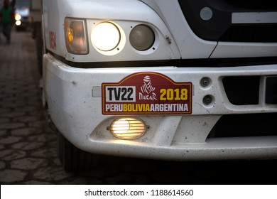 SALAR DE UYUNI, BOLIVIA - JANUARY 13, 2018: Detail from Dakar Rally 2018 at Salar de uyuni in Bolivia. Dakar Rally is an annual rally raid driven in South America since 2009.